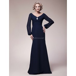 Sheath Column Plus Sizes Petite Mother Of The Bride Dress Dark Navy Floor Length Long Sleeve Chiffon