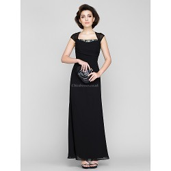 Sheath/Column Mother of the Bride Dress - Black Ankle-length Sleeveless Chiffon