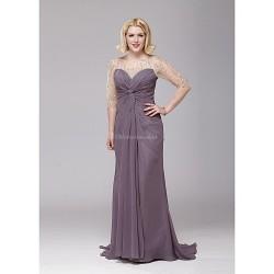 A Line Mother Of The Bride Dress Grape Floor Length Chiffon