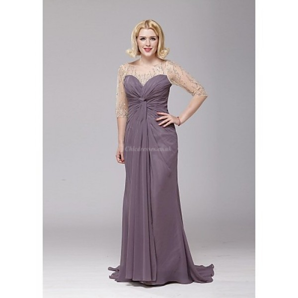 A-line Mother of the Bride Dress - Grape Floor-length Chiffon Mother Of The Bride Dresses