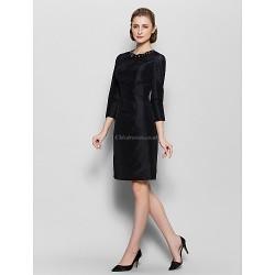 Sheath/Column Mother of the Bride Dress - Black Knee-length 3/4 Length Sleeve Nylon Taffeta