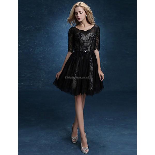 A-line Mother of the Bride Dress - Black Knee-length Lace / Satin Mother Of The Bride Dresses