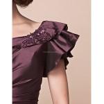 A-line Plus Sizes / Petite Mother of the Bride Dress - Grape Floor-length Short Sleeve Taffeta Mother Of The Bride Dresses