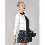 A-line Mother of the Bride Dress - White / Black Short/Mini Long Sleeve Polyester Mother Of The Bride Dresses
