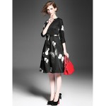 A Line Mother Of The Bride Dress Print Knee Length 3 4 Length Sleeve Polyester