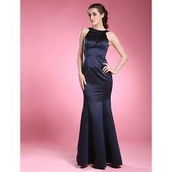 Trumpet Mermaid Plus Sizes Petite Mother Of The Bride Dress Dark Navy Floor Length Sleeveless Satin