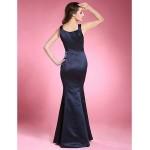 Trumpet/Mermaid Plus Sizes / Petite Mother of the Bride Dress - Dark Navy Floor-length Sleeveless Satin Mother Of The Bride Dresses