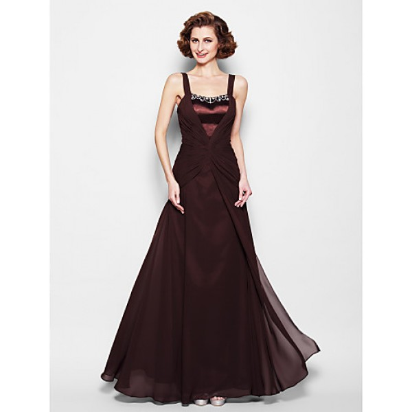 A-line Plus Sizes / Petite Mother of the Bride Dress - Chocolate Floor-length Sleeveless Chiffon / Satin Mother Of The Bride Dresses