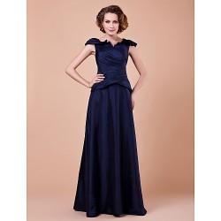 A Line Plus Sizes Petite Mother Of The Bride Dress Dark Navy Floor Length Short Sleeve Taffeta