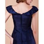 A-line Plus Sizes / Petite Mother of the Bride Dress - Dark Navy Floor-length Short Sleeve Taffeta Mother Of The Bride Dresses