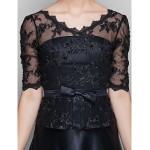 A-line Plus Sizes / Petite Mother of the Bride Dress - Black Floor-length Half Sleeve Satin / Lace Mother Of The Bride Dresses