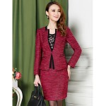 Sheath/Column Mother of the Bride Dress - Burgundy Knee-length Long Sleeve Polyester Mother Of The Bride Dresses