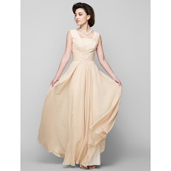 A Line Mother Of The Bride Dress Champagne Floor Length Sleeveless Chiffon