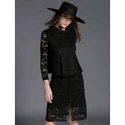 Sheath Column Mother Of The Bride Dress Black Knee Length Long Sleeve Lace Polyester