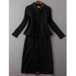 Sheath/Column Mother of the Bride Dress - Black Knee-length Long Sleeve Lace / Polyester Mother Of The Bride Dresses
