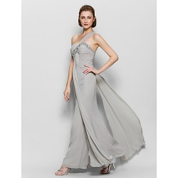 A Line Mother Of The Bride Dress Silver Ankle Length Sleeveless Chiffon