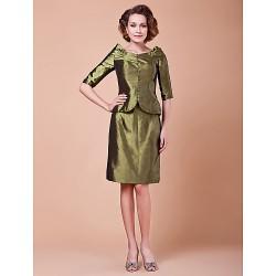 Sheath Column Plus Sizes Petite Mother Of The Bride Dress Clover Knee Length Half Sleeve Taffeta