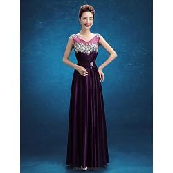 Formal Evening Dress Regency A Line Scoop Floor Length Stretch Satin