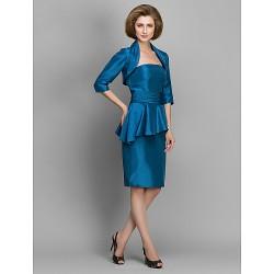 Sheath Column Mother Of The Bride Dress Ink Blue Knee Length Half Sleeve Taffeta
