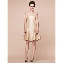 A Line Plus Sizes Petite Mother Of The Bride Dress Champagne Knee Length Short Sleeve Taffeta