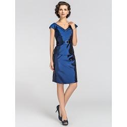 Sheath Column Plus Sizes Petite Mother Of The Bride Dress Royal Blue Knee Length Short Sleeve Taffeta