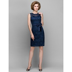 Sheath/Column Mother of the Bride Dress - Dark Navy Knee-length Sleeveless Lace