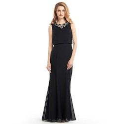 Trumpet Mermaid Mother Of The Bride Dress Black Floor Length Sleeveless Chiffon