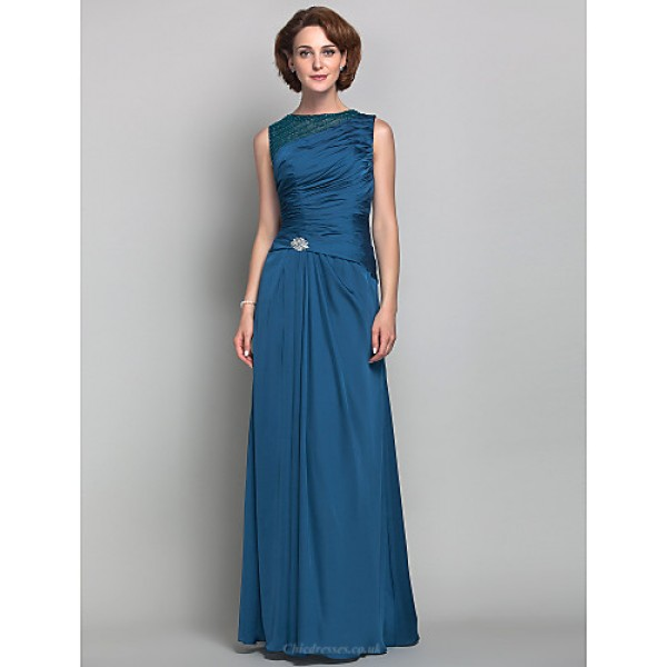 Sheath/Column Plus Sizes / Petite Mother of the Bride Dress - Ink Blue Floor-length Sleeveless Satin Chiffon Mother Of The Bride Dresses