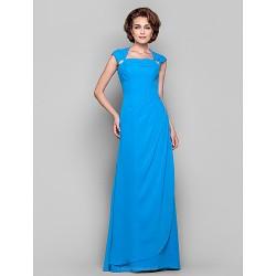 Dress Ocean Blue Plus Sizes Petite Sheath Column Cowl Queen Anne Floor Length Chiffon