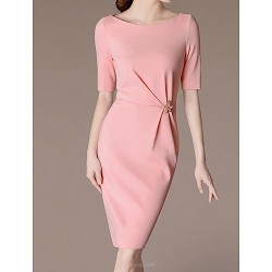 Sheath/Column Mother of the Bride Dress - Fuchsia / Pearl Pink / Pool Knee-length 3/4 Length Sleeve Polyester
