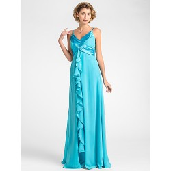 Sheath/Column Plus Sizes / Petite Mother of the Bride Dress - Pool Floor-length Sleeveless Chiffon