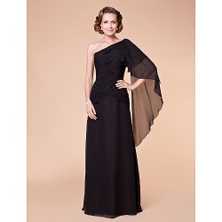 A-line Plus Sizes / Petite Mother of the Bride Dress - Black Floor-length Sleeveless Chiffon