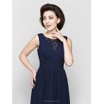 A-line Mother of the Bride Dress - Dark Navy Ankle-length Sleeveless Chiffon / Lace Mother Of The Bride Dresses