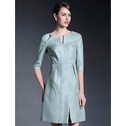 A Line Mother Of The Bride Dress Print Knee Length Half Sleeve Polyester