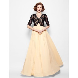 A Line Plus Sizes Petite Mother Of The Bride Dress Champagne Floor Length Half Sleeve Chiffon Lace
