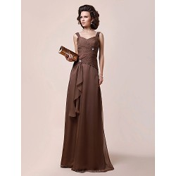 A Line Plus Sizes Petite Mother Of The Bride Dress Brown Floor Length Sleeveless Chiffon