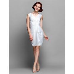 Sheath Column Plus Sizes Petite Mother Of The Bride Dress Ivory Knee Length Sleeveless Taffeta