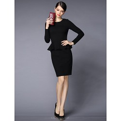 Sheath/Column Mother of the Bride Dress - Fuchsia / Black Knee-length Long Sleeve Polyester