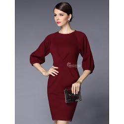 Sheath Column Mother Of The Bride Dress Burgundy Knee Length Half Sleeve Polyester