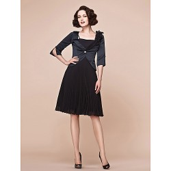 A-line Plus Sizes / Petite Mother of the Bride Dress - Black Knee-length Half Sleeve Chiffon / Satin