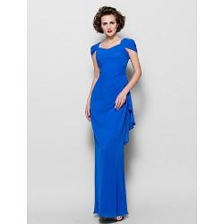 Sheath Column Plus Sizes Petite Mother Of The Bride Dress Royal Blue Floor Length Short Sleeve Chiffon