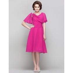 Dress - Fuchsia Plus Sizes / Petite A-line / Princess V-neck Knee-length Chiffon