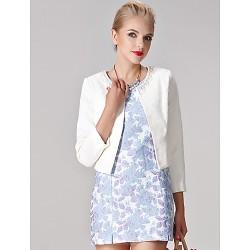 Sheath Column Mother Of The Bride Dress White Multi Color Print Short Mini 3 4 Length Sleeve Polyester