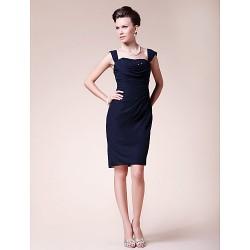 Sheath Column Plus Sizes Petite Mother Of The Bride Dress Dark Navy Knee Length Sleeveless Chiffon