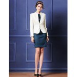 Sheath/Column Mother of the Bride Dress - Dark Navy / Ivory Knee-length Long Sleeve Polyester Mother Of The Bride Dresses