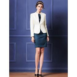 Sheath/Column Mother of the Bride Dress - Dark Navy / Ivory Knee-length Long Sleeve Polyester