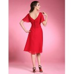 A-line Plus Sizes / Petite Mother of the Bride Dress - Ruby Knee-length Short Sleeve Chiffon Mother Of The Bride Dresses
