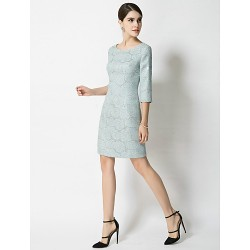 Sheath/Column Mother of the Bride Dress - Pearl Pink / Sky Blue Short/Mini 3/4 Length Sleeve Polyester