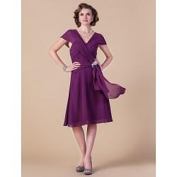 A Line Plus Sizes Petite Mother Of The Bride Dress Grape Knee Length Short Sleeve Chiffon