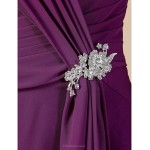 A-line Plus Sizes / Petite Mother of the Bride Dress - Grape Knee-length Short Sleeve Chiffon Mother Of The Bride Dresses